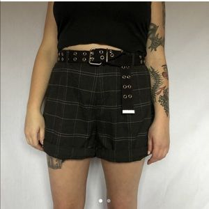Pants - plaid high waisted shorts